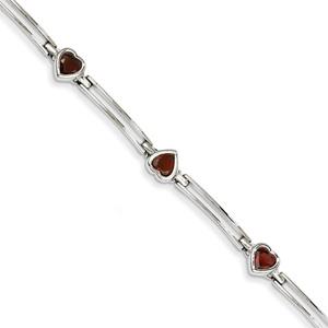 14K White Gold Heart-Shaped Garnet Bracelet