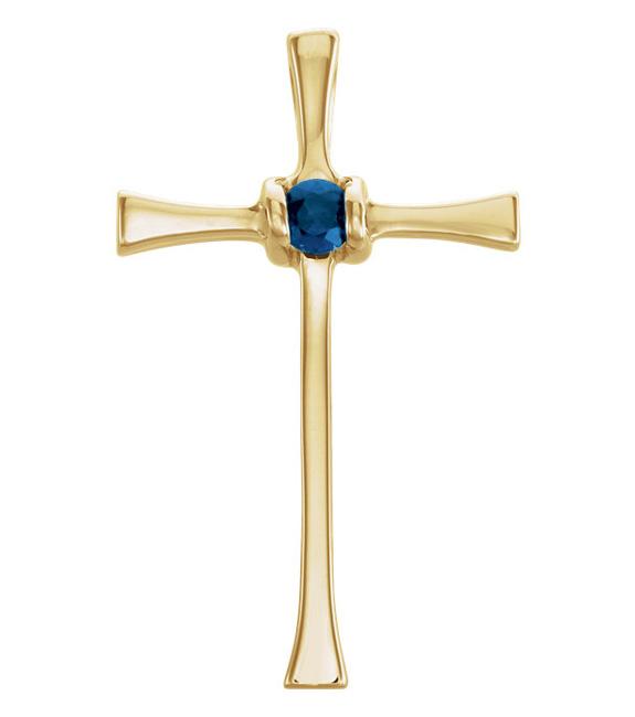 14K Yellow Gold Blue Sapphire Cross Pendant with Hidden Bale