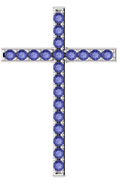 Alpha and Omega Tanzanite Cross Pendant in White Gold