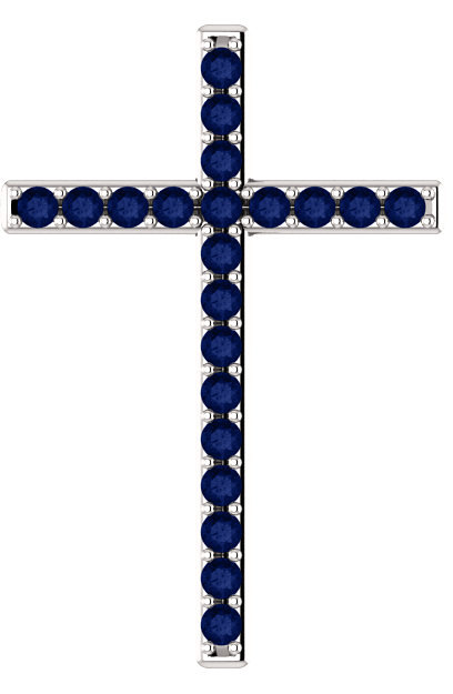 Blue Sapphire Throne Cross Pendant in White Gold