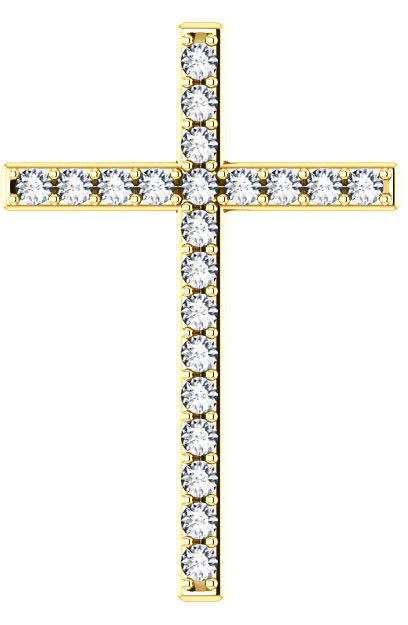 Eternal Life Diamond Cross Pendant in Gold