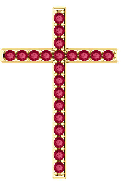 Faithful Witness Red Topaz Cross Pendant in Yellow Gold