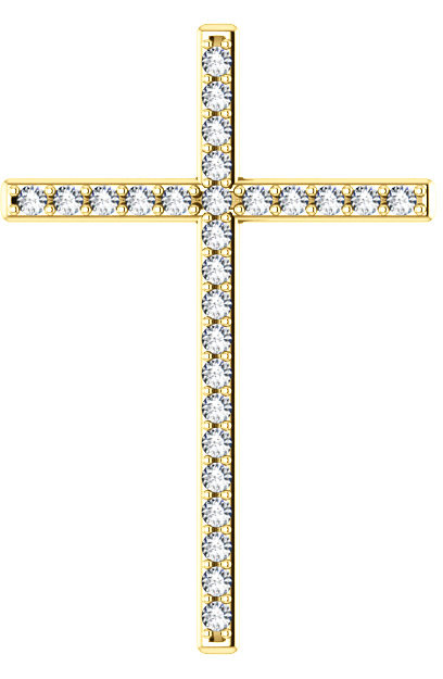 First Resurrection Diamond Cross Pendant in Yellow Gold