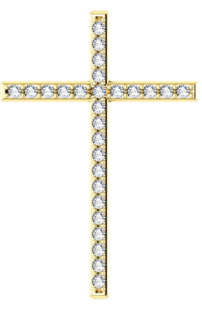 First Resurrection Diamond Cross Pendant in Yellow Gold