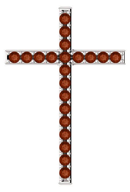 The Rose of Sharon Garnet Cross Pendant in Sterling Silver