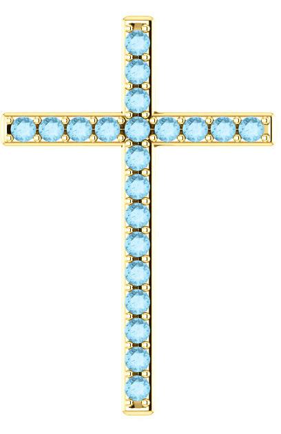 Gentle Shepherd Aquamarine Cross Pendant, Yellow Gold