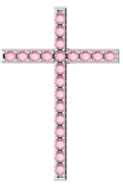 God is Love Baby Pink Topaz White Gold Cross Pendant