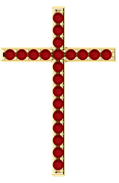 Gold Passion of the Cross Ruby Pendant