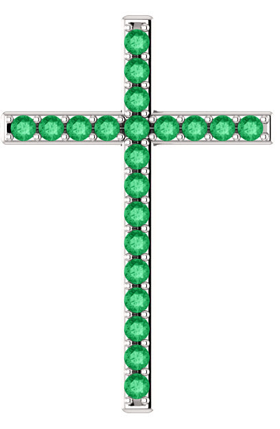 Green Pastures Emerald Cross Pendant in White Gold