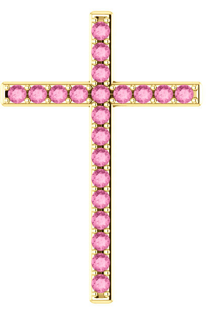 He First Loved Us Pink Sapphire Gold Cross Pendant