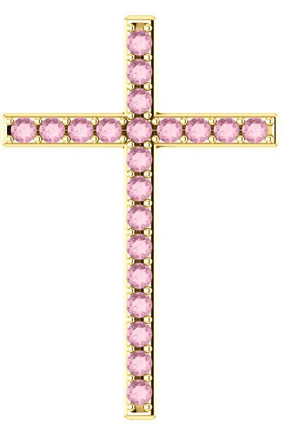 Herein is Love Baby Pink Topaz Gold Cross Pendant