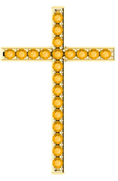My Light and My Salvation Citrine Gold Cross Pendant