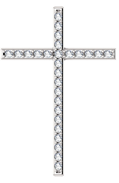 I Am the Resurrection Diamond Cross Pendant in White Gold