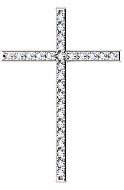 I Am the Resurrection Diamond Cross Pendant in White Gold