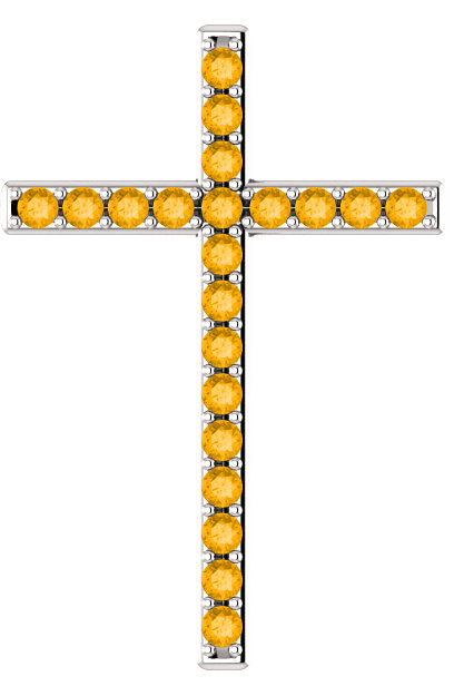 Let There Be Light Citrine Cross Pendant in White Gold
