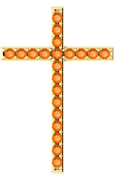 Light of the World Orange Topaz Cross Pendant in Gold