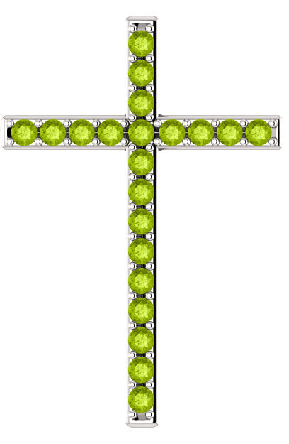 Olive-Tree Green Peridot Cross Pendant in White Gold