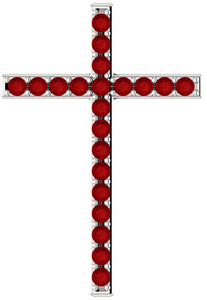 Passion of the Cross Red Ruby Pendant in White Gold