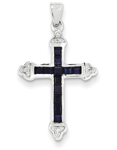 Princess-Cut Sapphire Cross Necklace, 14K White Gold