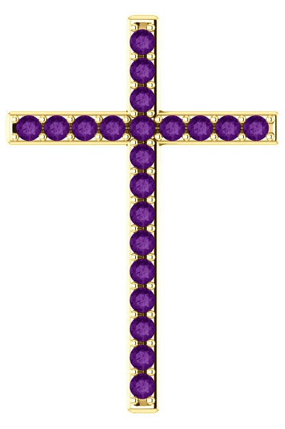 King of Kings Purple Amethyst Gold Cross Pendant