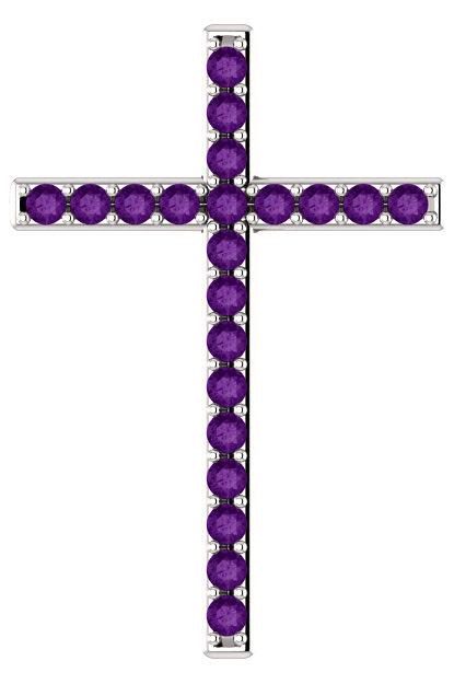 Prince of Life Purple Amethyst Cross Pendant in White Gold