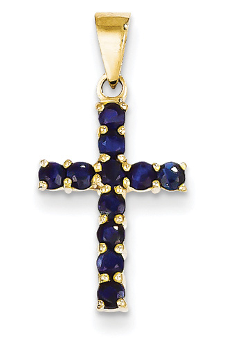 Round Prong-Set Sapphire Cross Pendant, 14K Yellow Gold