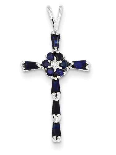 Sapphire Flower Cross Necklace, 14K White Gold