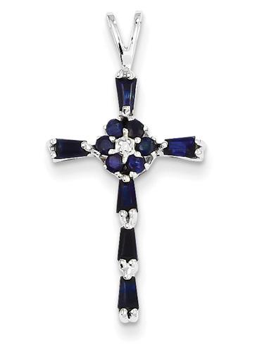 sapphire flower cross necklace