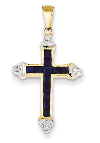 Princess-Cut Sapphire Cross Pendant, 14K Yellow Gold