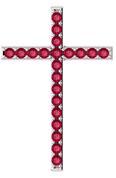 Shed For Many Red Topaz Cross Pendant in White Gold