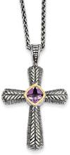 Amethyst Cross Necklace, Sterling Silver & 14K Gold