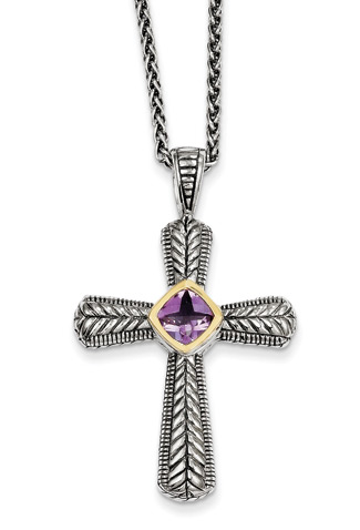 Amethyst Cross Necklace, Sterling Silver & 14K Gold