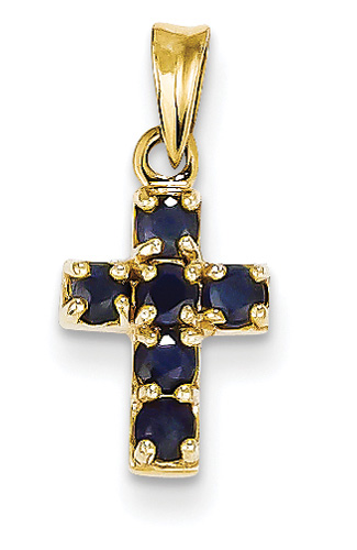 Small Sapphire Cross Necklace, 14K Yellow Gold