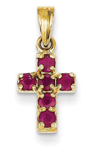 Small Ruby Cross Pendant, 14K Yellow Gold