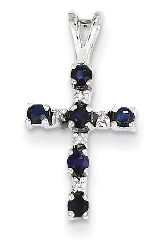 Small Sapphire Cross Pendant, 14K White Gold