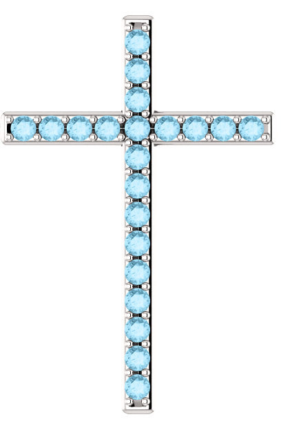 The Lord is My Shepherd Aquamarine Cross Pendant in Sterling Silver
