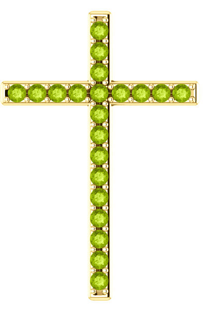 The Grass Witherth Green Peridot Cross Pendant in Gold