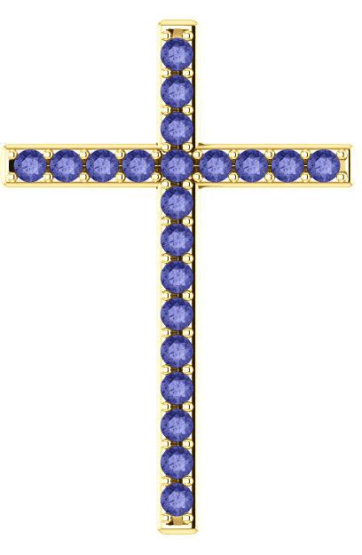 Upon This Rock Tanzanite Gold Cross Pendant