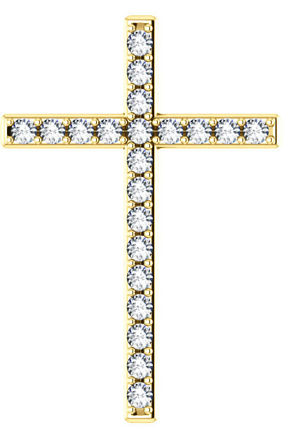 Treasures in Heaven White Topaz Cross Pendant in Yellow Gold