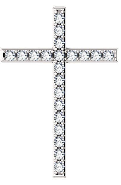Lily of the Valleys White Topaz Cross Pendant in White Gold