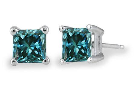 1/2 Carat Princess-Cut Blue Diamond Stud Earrings, 14K White Gold