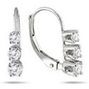 1/2 Carat Three-Stone Drop Earrings in 10K White Gold