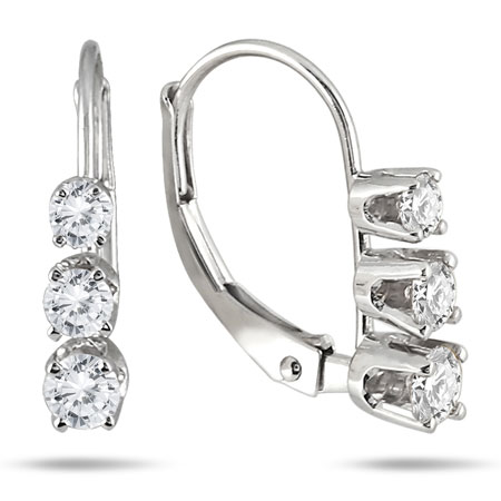 1/2 Carat Three-Stone Drop Earrings in 10K White Gold