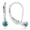 0.25 Carat Blue Diamond Lever-Back Earrings, 14K White Gold