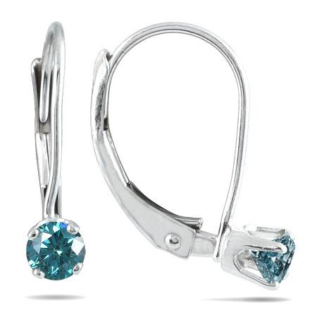 0.25 Carat Blue Diamond Lever-Back Earrings, 14K White Gold