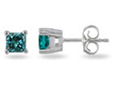 1/4 Carat Princess-Cut Blue Diamond Studs, 14K White Gold