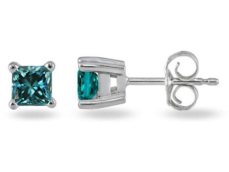 1/4 Carat Princess-Cut Blue Diamond Studs, 14K White Gold