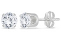 1 Carat Total Round Diamond Stud Earrings, 14K White Gold