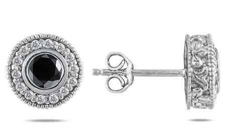 3/4 Carat Black and White Diamond Halo Stud Earrings