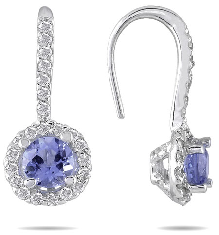 3/4 Carat Real Tanzanite and Diamond Earrings in 10K White Gold